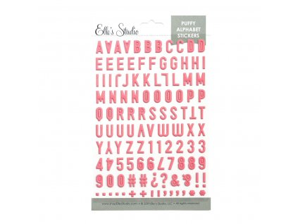 EllesStudio May2019 Pink Puffy Alphabet Stickers