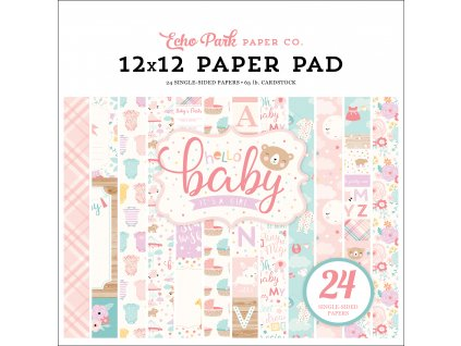 BG171030 Hello Baby Girl 12x12 Paper Pad
