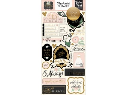 WD181022 Wedding Day Chipboard Phrases Gold Foiled 82877.1546870168.1000.1000