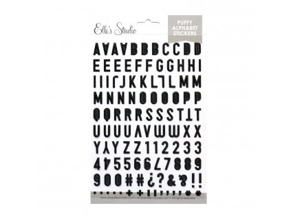 EllesStudio December2018 Black Puffy Alphabet Stickers