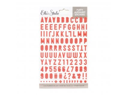 Elles Studio February 2020 Coral Puffy Alphabet Stickers