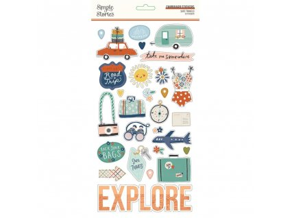 simple stories safe travels chipboard 14815