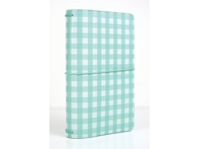 TN1009 Travelers Notebook Teal Gingham Book Closed
