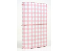 TN1007 Travelers Notebook Pink Gingham Book Closed
