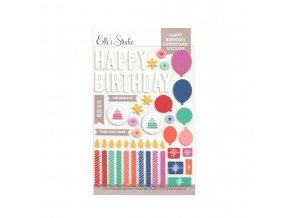 Elles Studio March 2021 Happy Birthday Chipboard Stickers