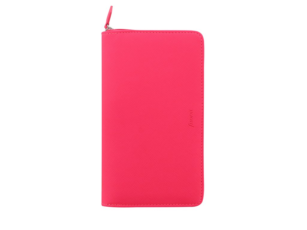 028751 Saffiano Zip Fluoro Personal Compact Pink 1