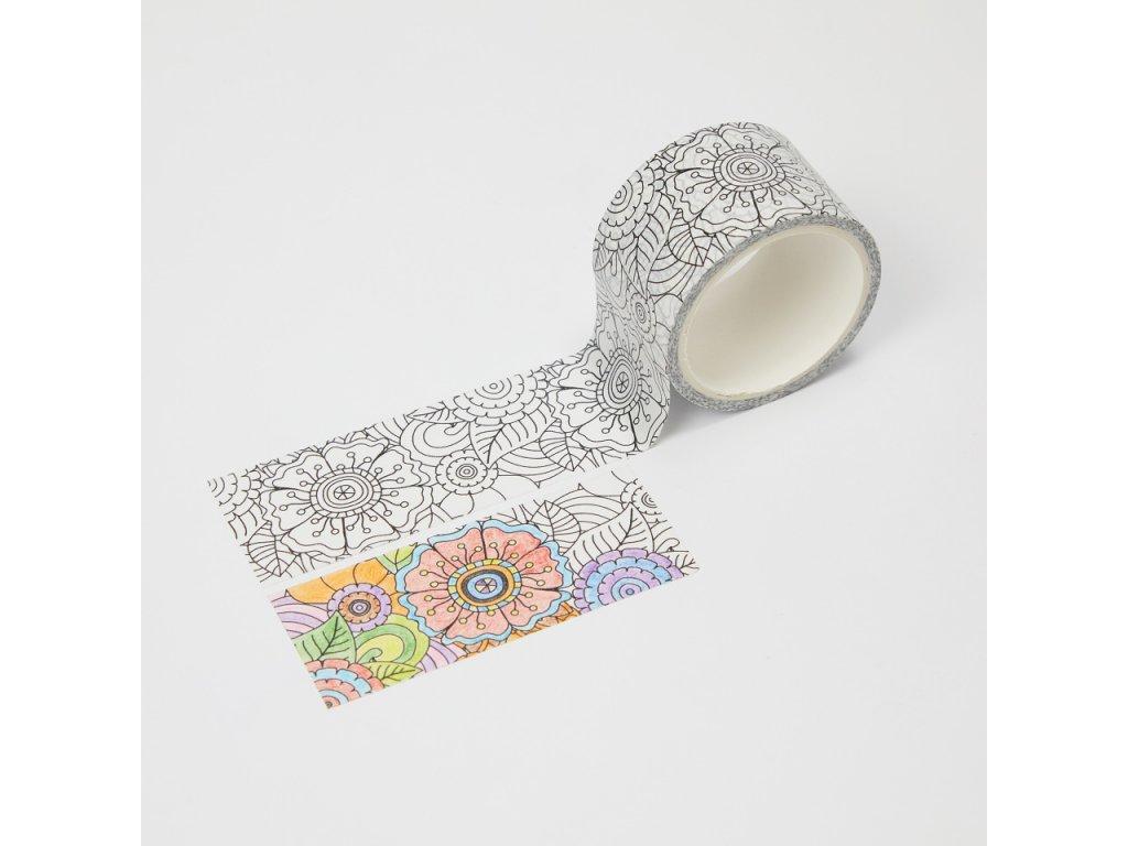 washi paska vybarvovaci kyticky paperlove