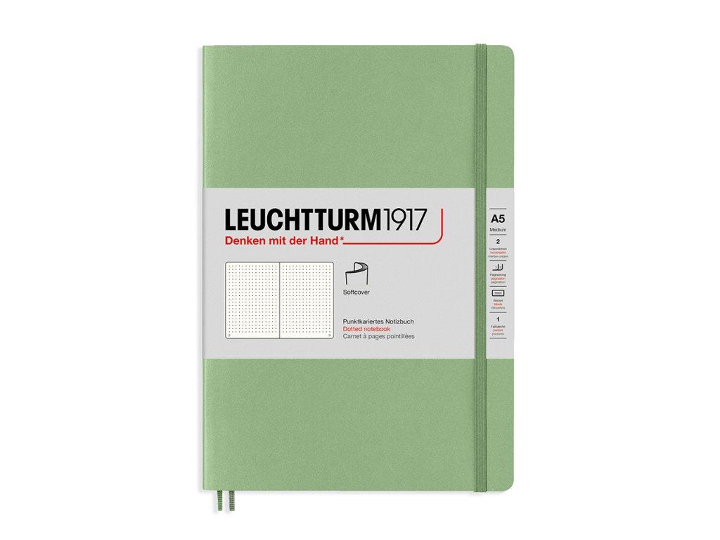 Tečkovaný zápisník Leuchtturm1917 Medium Sage (měkké desky)