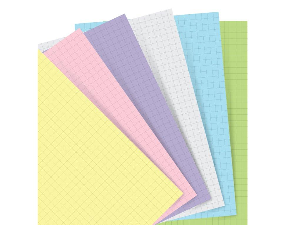 pastelove ctvereckovane papiry napln do diaru filofax