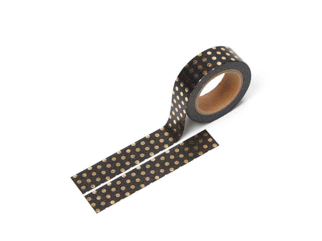 Washi páska - Puntíkatá černá (zlatá fólie)