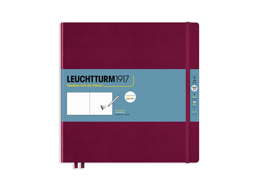 skicak leuchtturm1917 square 225 x 225mm port red 112 stran