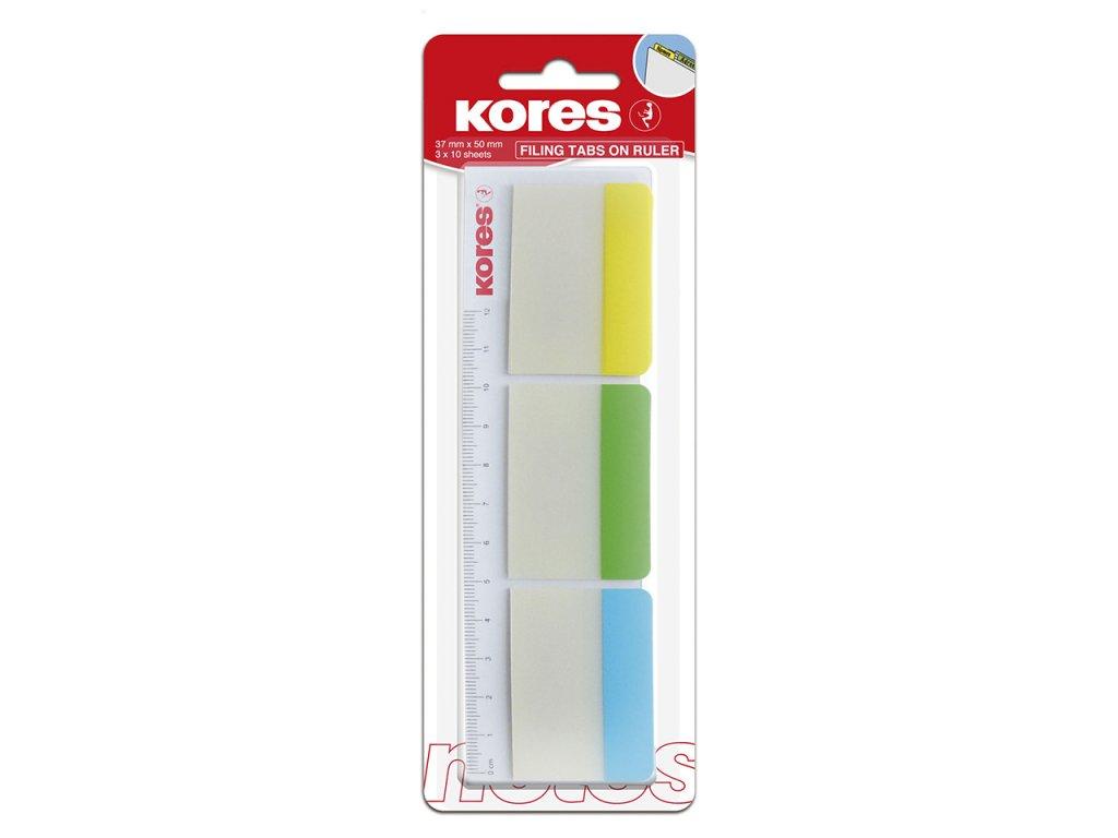 popisovaci zalozky kores na pravitku 50x37 mm 3 barvy