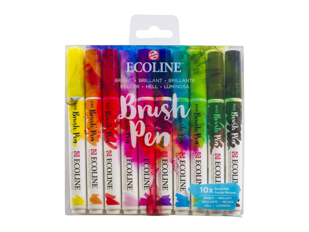 akvarelove stetcove fixy ecoline brush pen bright sada 10ks 1