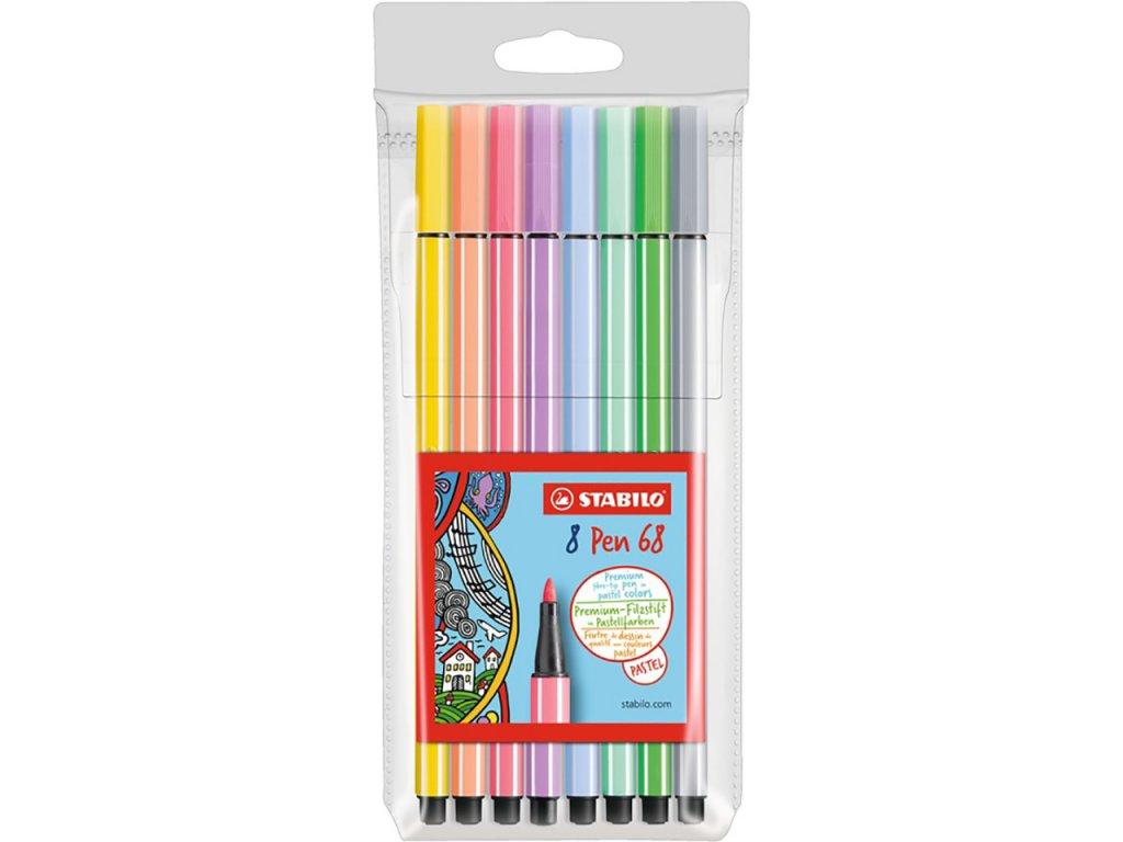 fixy stabilo pen 68 pastel sada 8ks