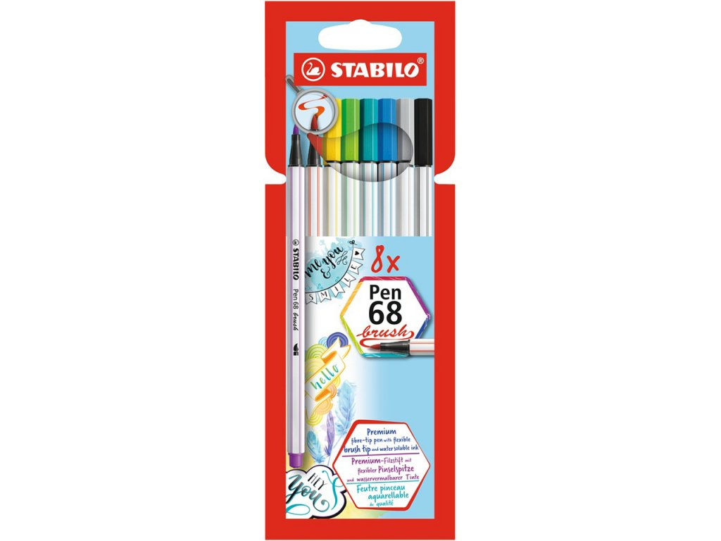 stabilo pen 68 brush sada 8ks