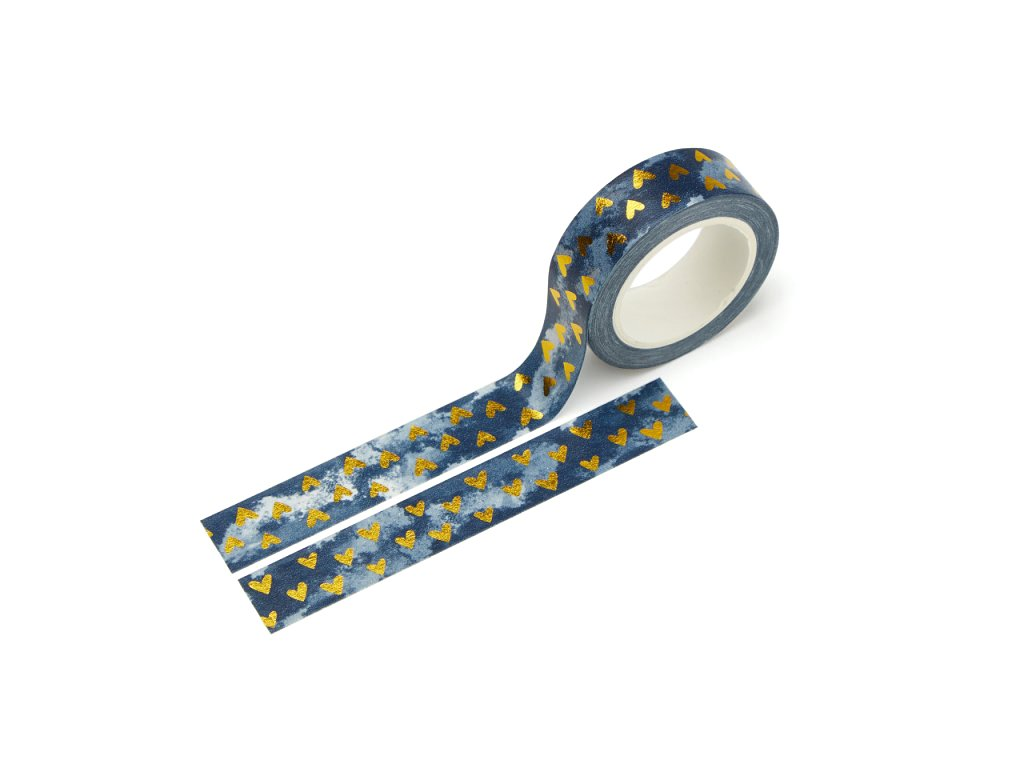 Washi páska - Srdíčka v modré (zlatá fólie)