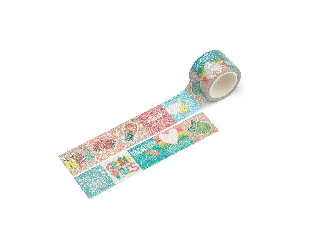 Washi páska - Tropické léto (třpytivá)