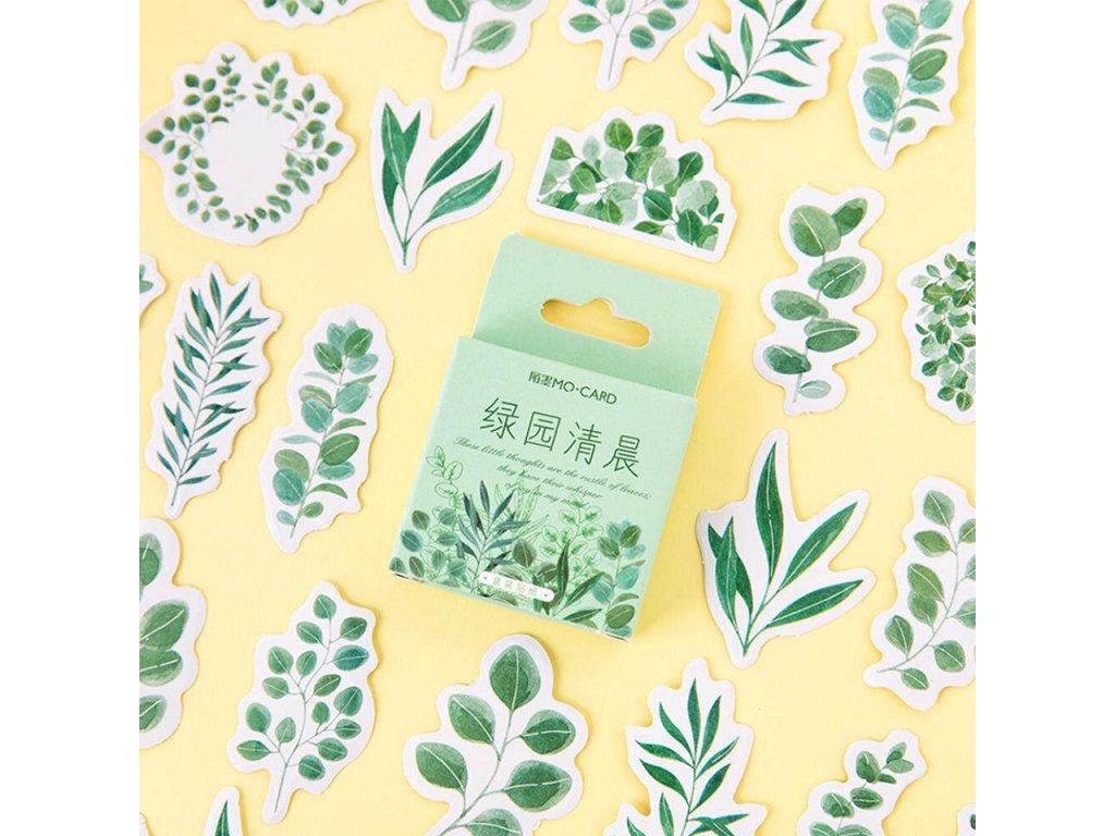 samolepky zelene rostlinky 45ks 4