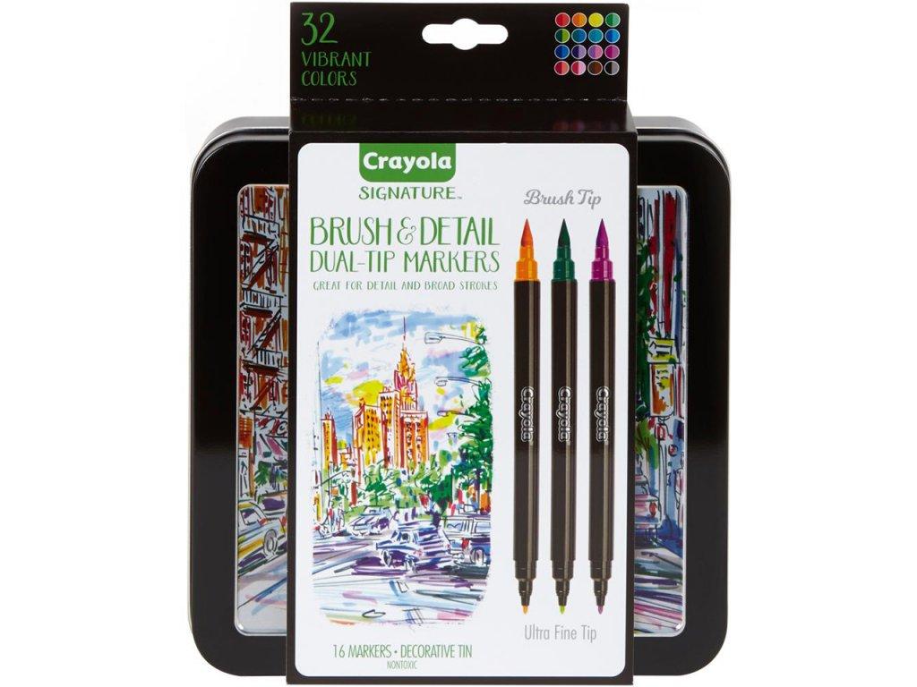 Crayola Signature Brush & Detail Dual Ended Markers - Sada 16ks
