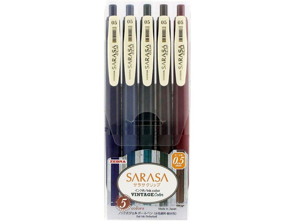 gelova pera zebra sarasa vintage color sada 5ks 1