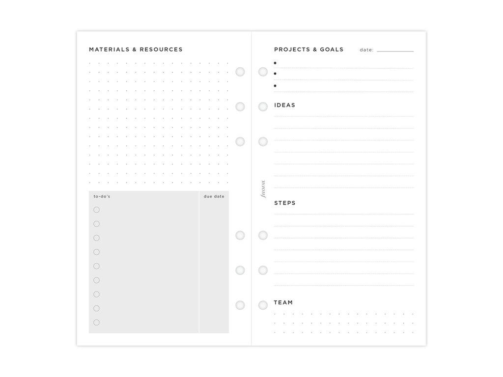 Plánování projektů - náplň do diářů Filofax