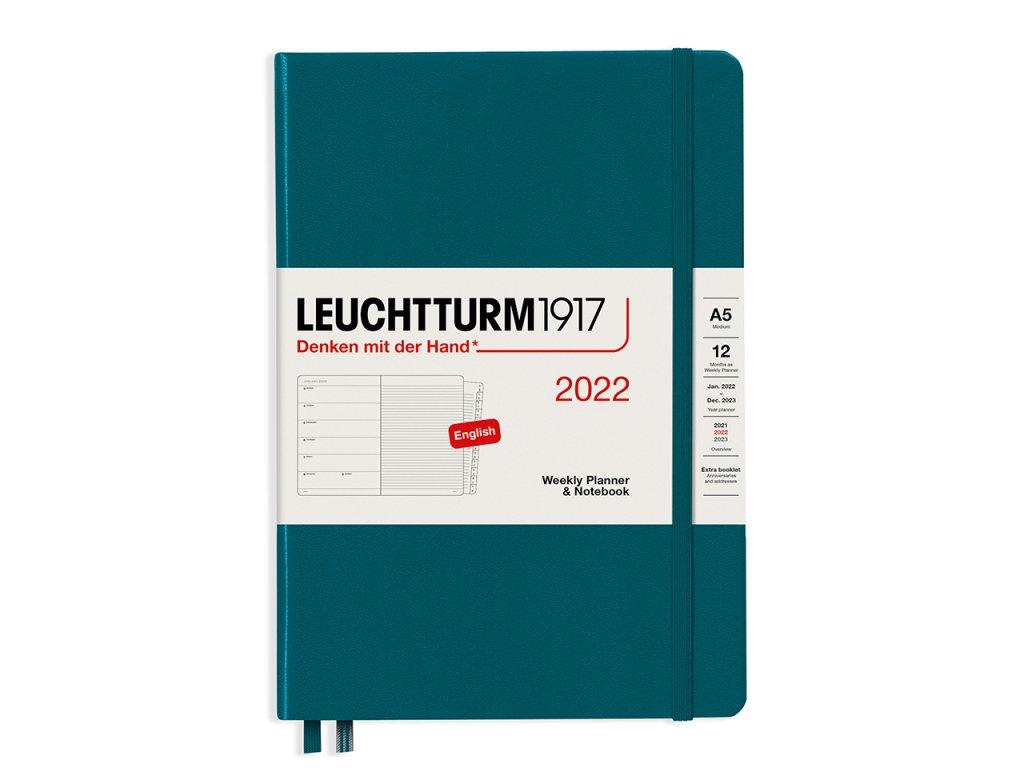 tydenni diar 2022 zapisnik leuchtturm1917 medium a5 pacific green