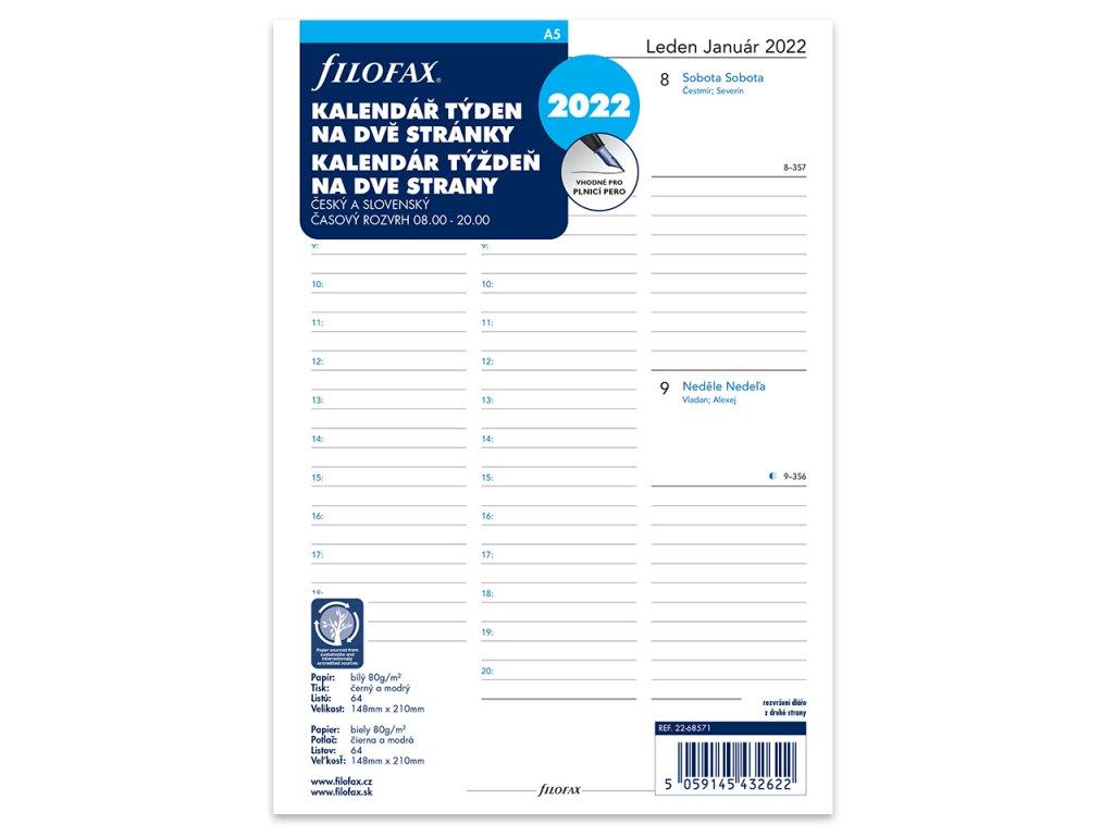 tydenni kalendar 2022 napln do a5 diaru filofax 1