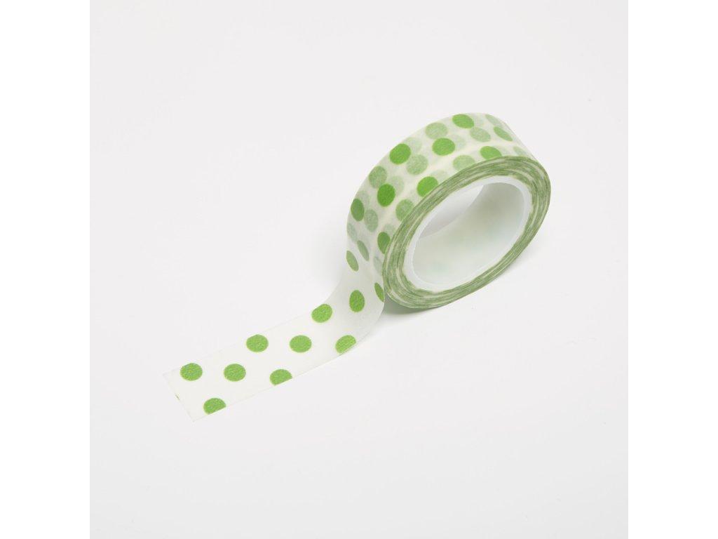 Washi páska - Velké zelené puntíky