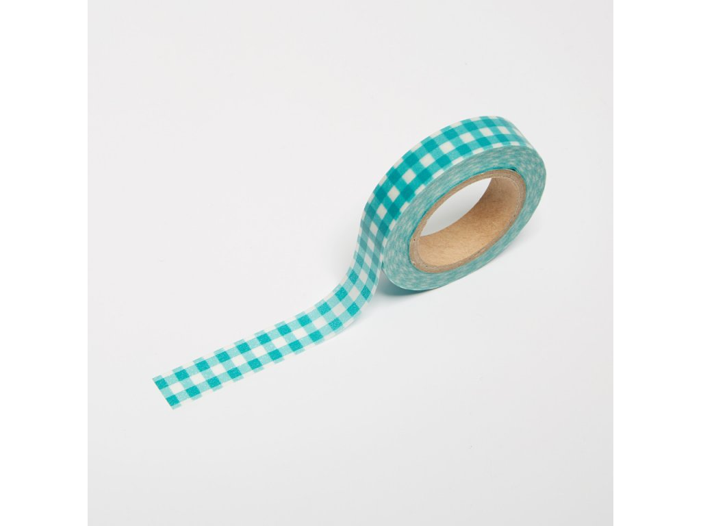 Washi páska - Tyrkysová kostkovaná