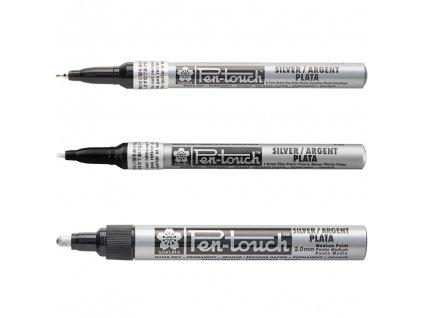 sakura pen touch stribrny ruzne velikosti