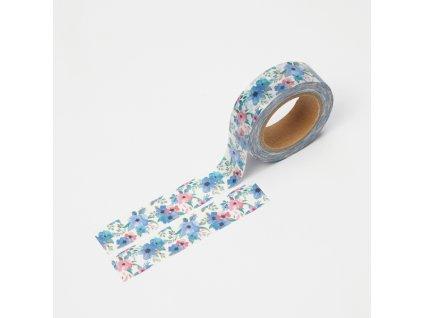 Washi páska - Modro-růžové květiny