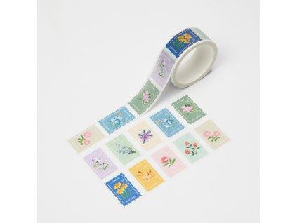 Washi páska - Trhací květinové známky