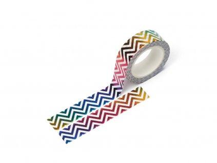 Washi páska - Duhový chevron