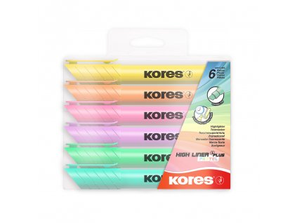 zvyraznovace kores high liner plus pastel 6ks paperlove