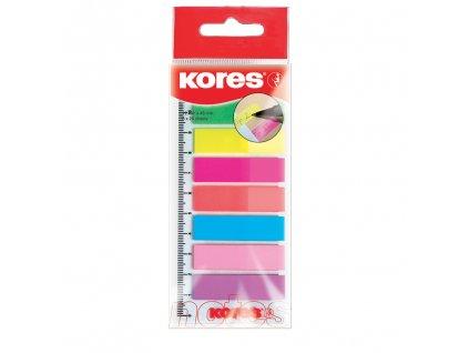 neonove zalozky kores index strips na pravitku 45x12 mm 8 barev