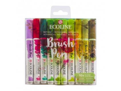 akvarelove stetcove fixy ecoline brush pen botanic sada 10ks 1