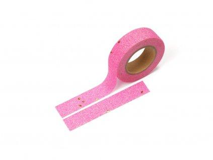 Washi páska - Třpytivá růžovo - zlatá