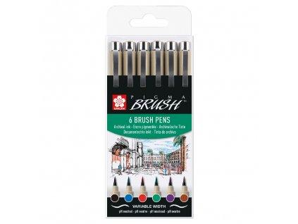 sakura pigma brush pen sada 6ks