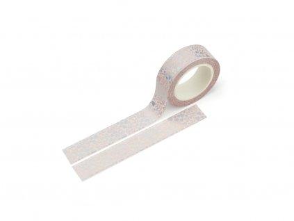 Washi páska - Srdíčka v růžové (stříbrná fólie)