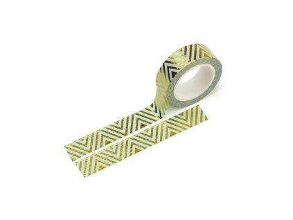 Washi páska - Mint chevron (zlatá fólie)