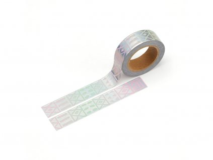 3455 washi paska holograficke obrazce stribrna folie