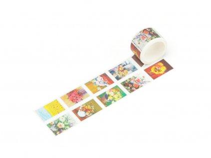 Washi páska - Květinová vintage pošta (trhací)