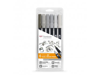 tombow dual brush pen sada 6ks gray colors
