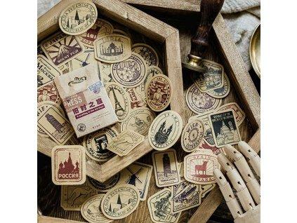 samolepky vintage znamky 46ks 1
