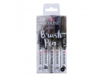 akvarelove stetcove fixy ecoline brush pen grey sada 5ks 1