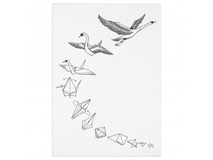 pohlednice ligarti labuti origami