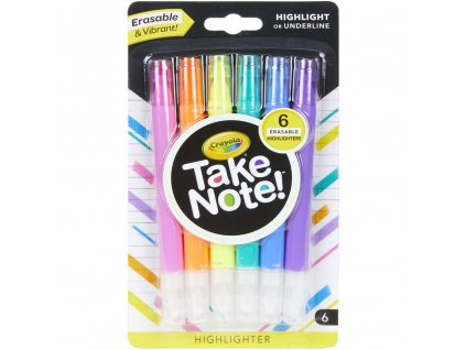 smazatelne zvyraznovace crayola take note sada 6ks 1