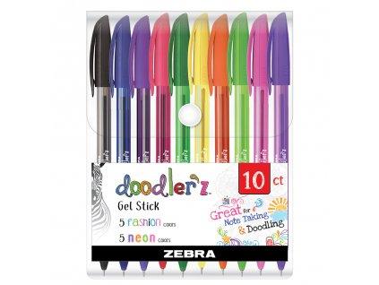 gelova pera zebra doodler z neon sada 10ks