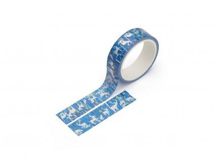 Washi páska - Losi v polární záři (stříbrná fólie)