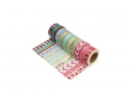 Sada 10 washi pásek - Různé motivy 1